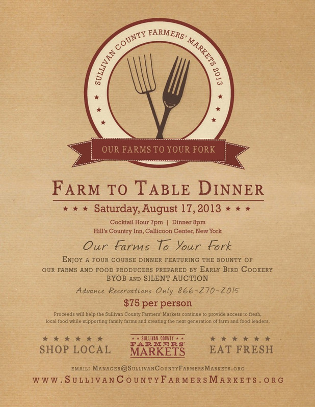 FlyersUp FarmTable Dinner At Hills Country Inn Roscoe Sullivan NY - Farmers table menu