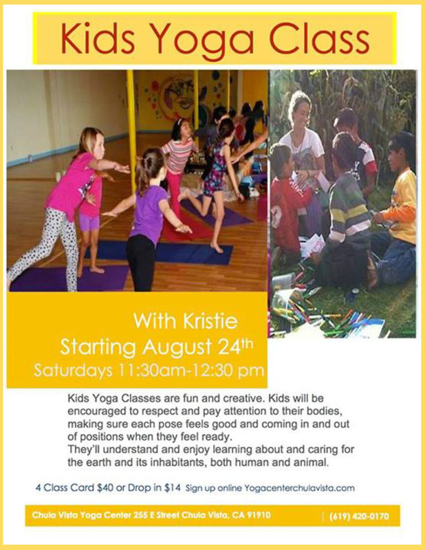 Flyersup Kids Yoga Class At Yoga Center Chula Vista San Diego Ca