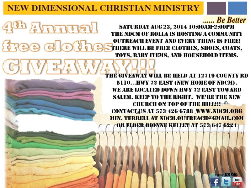 Flyersup Free Clothing Giveaway At New Dimensional Christian Rolla