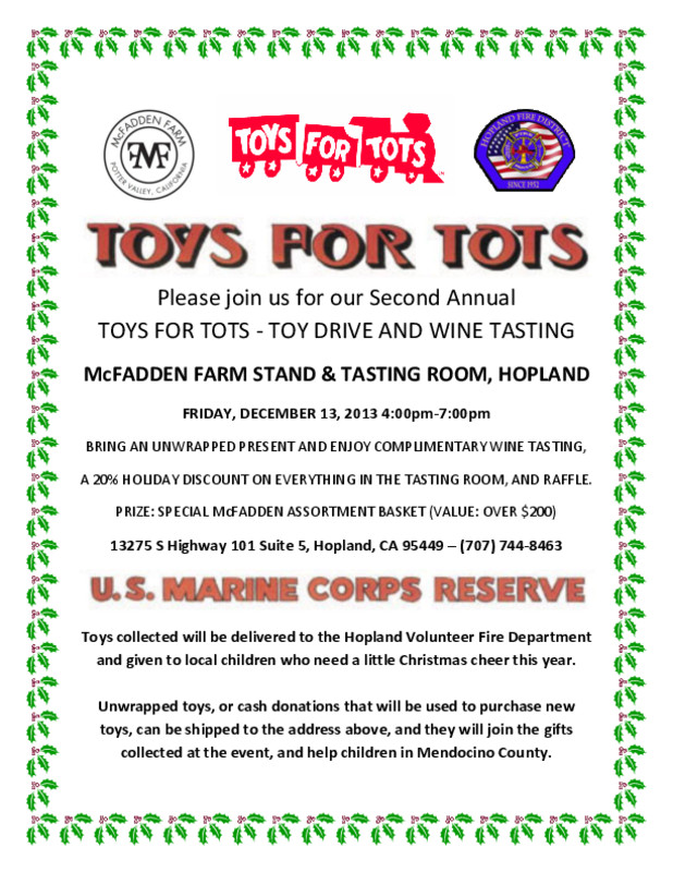 Toys For Tots Benefit Hopland Mendocino