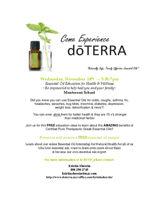 Flyersup Essential Oil Education For Health Wellness At
