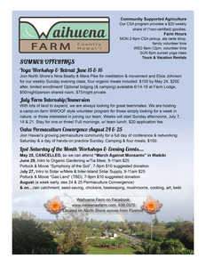 Waihuena Farm Summer Offerings
